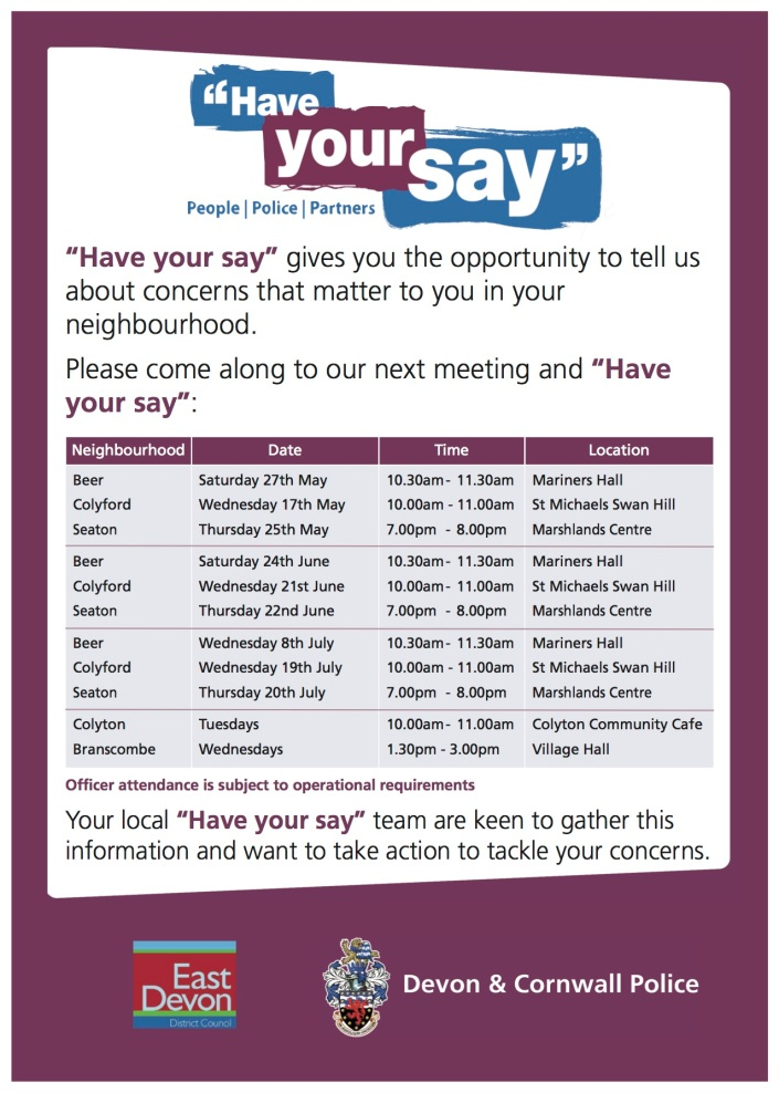 Have your say May - July 2017