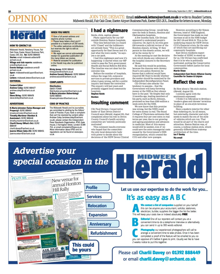 MW Herald letter Diviani Health Scrutiny