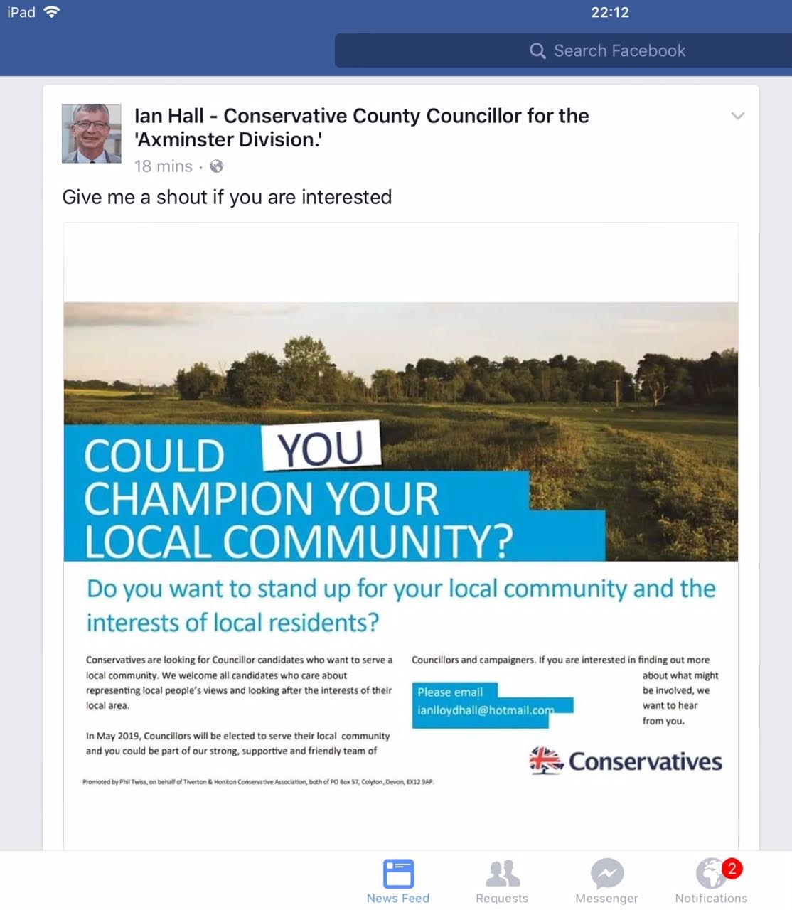 Conservative advert for candidates Ian Hall