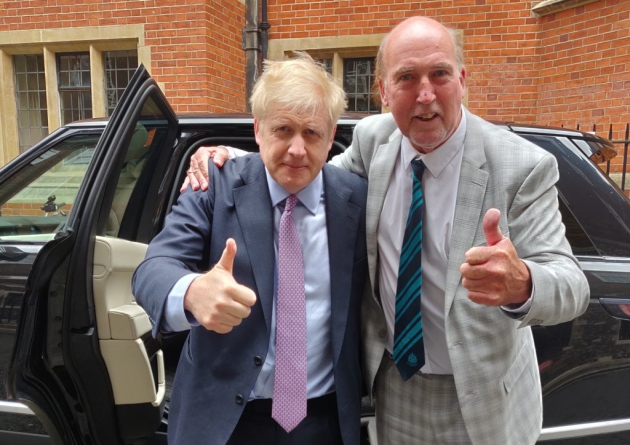 Stuart Hughes and Boris Johnson
