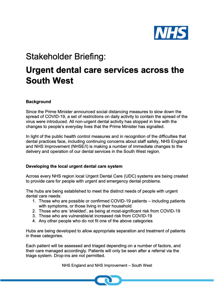 Urgent Dental Centres - Stakeholder Briefing Note 20200409 final